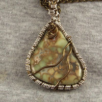 Variscite Mineral Gemstone Boho Pendant Wire Wrapped in Copper Statement Necklace $42.95