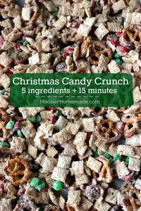 This Christmas Candy Crunch is a quick and easy treat to give as gifts to teachers, neighbors, friends and more. Change the colors of candy for any occasion