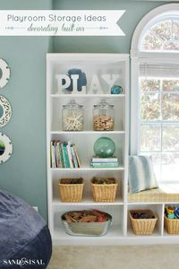 Get organized with these beautiful and clever playroom storage ideas, plus tips on decorating built-ins for the playroom!