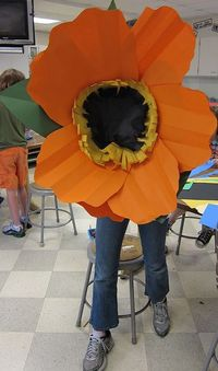 paper flowers, giant paper flowers and glue guns.