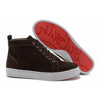 Christian Louboutin Rantus Orlato High Top Mens Sneakers Brown Suede