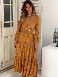 Bohemian V-neck Long-sleeve Print Maxi dress $38.00