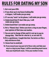 funny - rules for dating my son