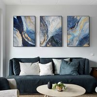 Framed wall art 3 pieces Wall Art Gold painting ocean navy blue art Abstract acrylic paintings on canvas set of 3 wall art sea painting $163.53