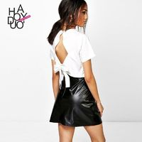 Must-have Casual Sexy Bow Hollow Out Short Sleeves Summer T-shirt - Bonny YZOZO Boutique Store