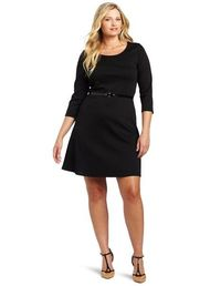 Black Women's Plus-Size Long Sleeve Ponte Skater With Belt