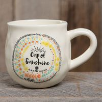 """Happy Mug with """"Cup of Sunshine"""". Ceramic. 3.75 in L x 3.75 in W x 4 in H�€�"""