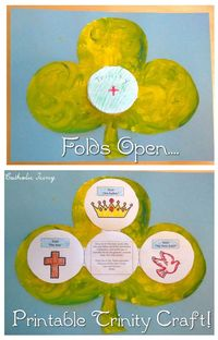 FREE TO PRINT! Easy shamrock printable to teach kids about the Trinity! Use Trinity booklet with shamrock craft, or it stands alone. Each time booklet is unfolded, it reveals a symbol of the Holy Trinity and a prayer to that person of the Holy Trinity. Pe...