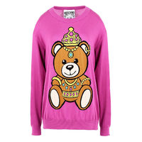 Moschino Crown Teddy Bear Long Sleeves Sweater Rose