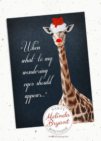 Red Nosed Giraffe Printed Christmas Cards with Envelopes -- 5x7 -- Custom Holiday Greetings, Folded Safari Themed Stationery $1.36