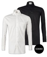 White Twill and Black Satin Regular Fit Shirt Combo �'�2098.00