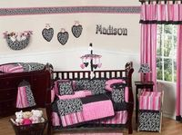Pink and Black Madison Girls Boutique Bedroom Set for a little girls nursery so freakin cute :)