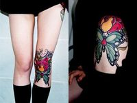 Knee Tattoo // reference for more leg tattoos (placement) i salute this chick. knee tattoos are no joke.