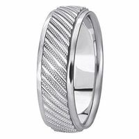 14K White Gold 6 millimeters wide Wedding anniversary Band gift for him $561.00