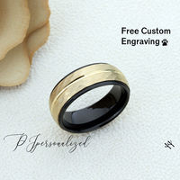 Personalized Men/'s Black Tungsten Wedding Band Promise Ring 8mm Rose Gold Top