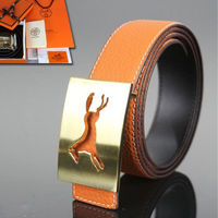 Hermes Constance Horse Belt Leather Gold Hardware In Orange