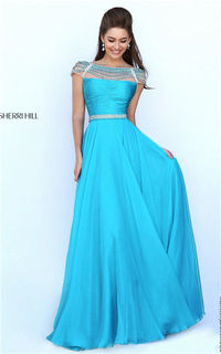 Spring 2017 Beading Sherri Hill 50414 Low Back Turquoise Ruched Long Prom Dress [Sherri Hill 50414 Turquoise] - $191.00