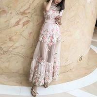 2017 summer dress new embroidered A-line skirt perspective dress High waist slim organza dress female - Bonny YZOZO Boutique Store