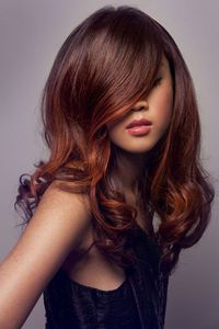 Stunning brown hair with orange highlights created by hair stylist Ben McAdle from Servilles Newmarket in New Zealand. I want to do this with brown/auburn and red