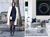 Outfit to Room: Charcoal Sweater-Dress & Ivory Coat Knitted textures and bold contrasts tie this outfit and this room together.