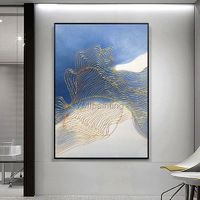 Gold art Abstract acrylic paintings on canvas ymipainting Navy Blue extra Large Modern framed Wall Art Pictures modern abstract wall decor $89.00