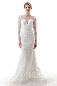 New in! Trumpet-Mermaid Illusion Sweep Brush Train Lace and Tulle Ivory Long Sleeve Key Hole Wedding Dress with Appliques