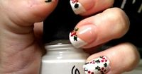 Christmas Holly White diagonal French. nails. nail art. manicure.
