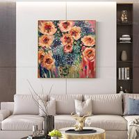 Abstract floral paintings on Canvas art green blue extra Large original painting flower oil painting pink Rose framed wall art picture $129.00