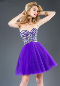 Short Purple Beaded Pleated Dress for Homecoming