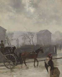 Edmund Charles Tarbell (1862-1938) - Hansom Cab in London, 1886