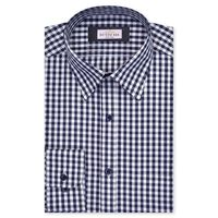 Create a stylish look with this Oxford Men Navy Blue And Grey Check shirt. Woven in Egyptian cotton & polyster. this check shirt has a fine finish.