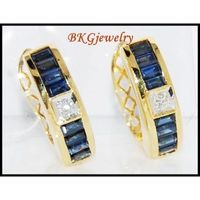 Diamond Blue Sapphire Jewelry 18K Yellow Gold Earrings [E0020]