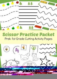 Age appropriate cutting activities for your Prek-1st Grader in this Scissor Practice Packet! | www.GoldenReflectionsBlog.com