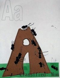 Classified: Mom: Animal Alphabet Art- A is for Ants on a Anthill